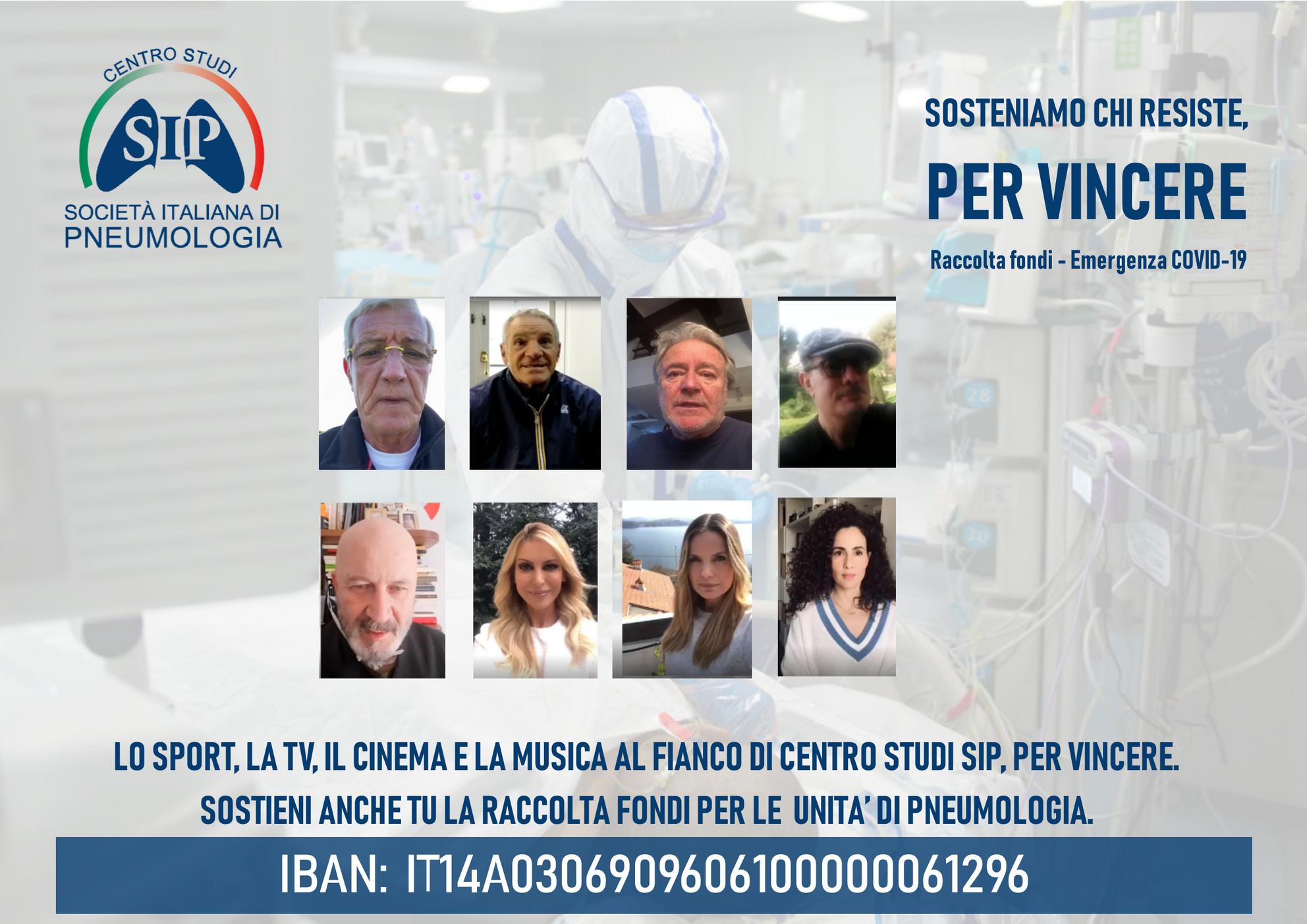 LO SPORT, LA TV, IL CINEMA E LA MUSICA A FIANCO DI CENTRO STUDI SIP NELLA RACCOLTA FONDI PER L' EMERGENZA COVID-19